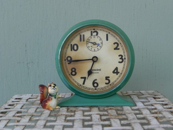 Westclox Art Deco Bantam Wind-Up Alarm Clock - Green