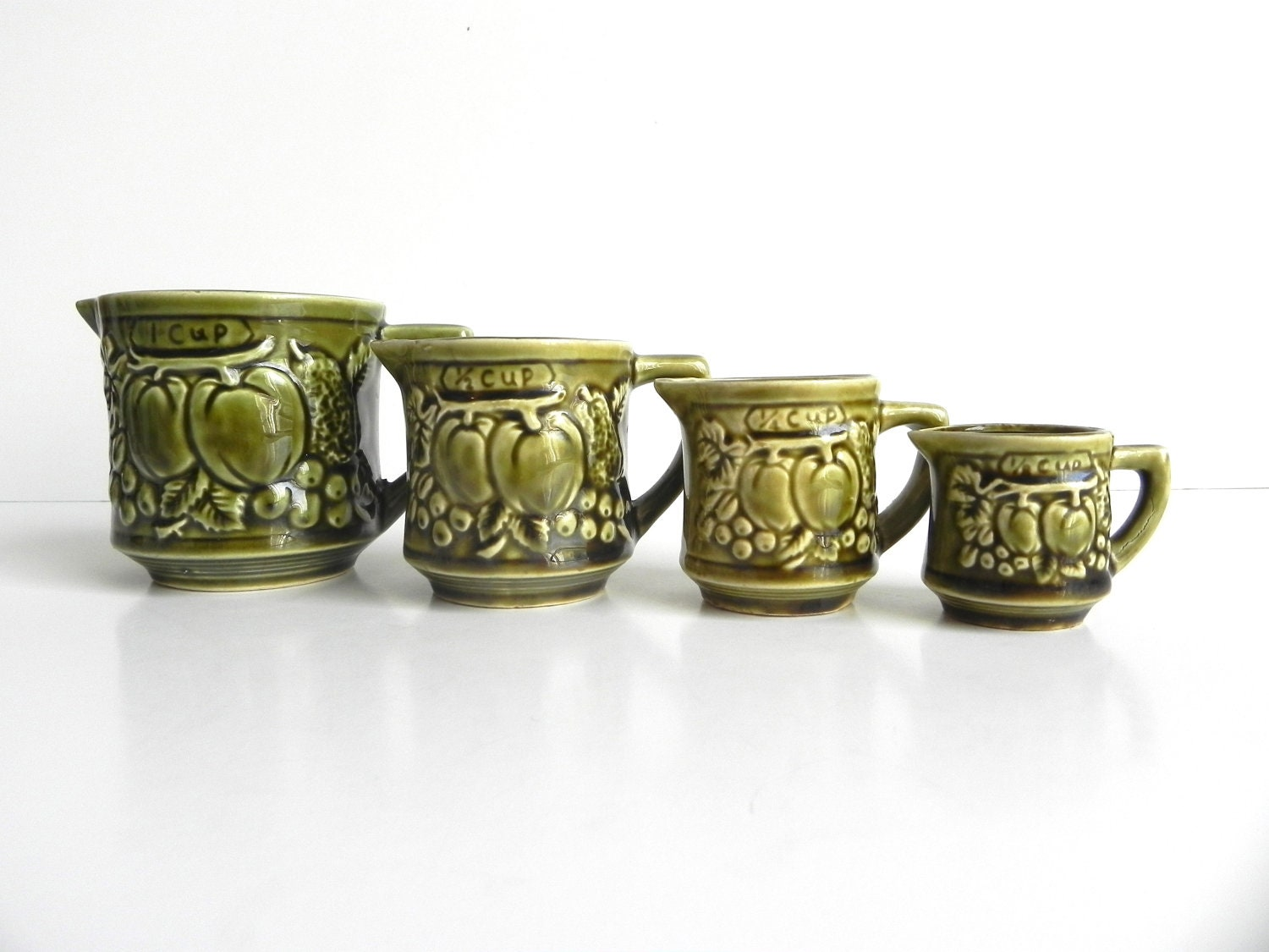 Vintage Ceramic Measuring Cup Set Olive Green Made In