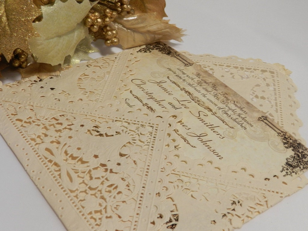Lace Wedding Invitation: Lace Vintage Rustic Wedding Invitations By MyMemorableDesigns