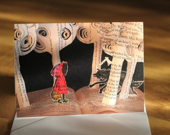 Little Red - Greeting Card of an original Book Sculpture riding hood