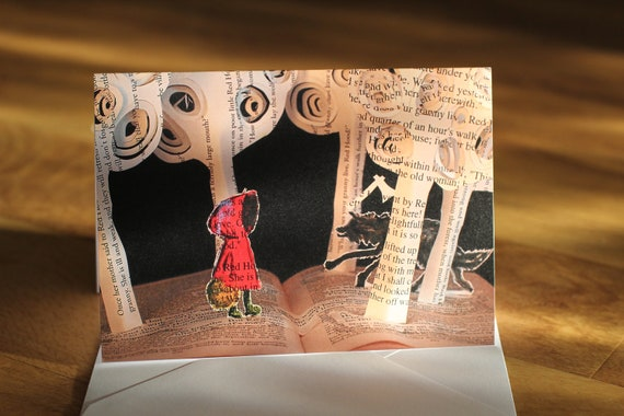 Little Red - Greeting Card of an original Book Sculpture riding hood