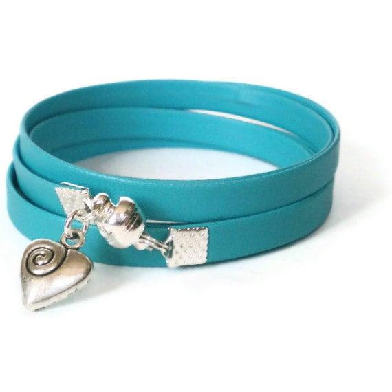 turquoise wrap bracelet, imitation leather, heart charm, boho cuff, rocker style