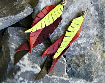 Leather Earrings, Feather Leather Earrings, Fleathers  - Yellow, Red, Burgundy and Black