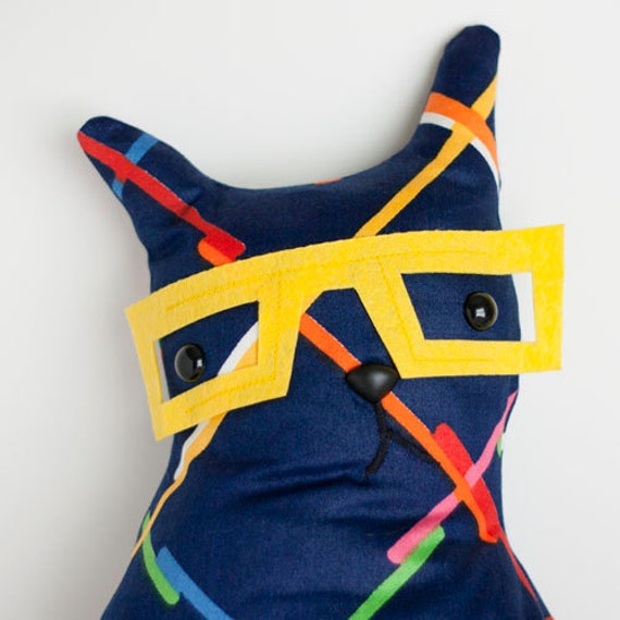 Marvin - Nerdy Yellow Glasses 80's royal blue fabric cat softie or decorative pillow