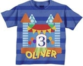 Bounce House Birthday Shirt, Personalized Boys Bouncehouse Number T-Shirt, Boy's Castle Birthday Shirt