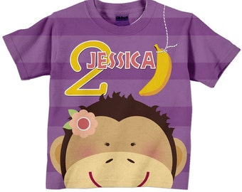 Girls Birthday Shirt, Personalized Monkey Number Tshirt