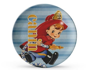Personalized Plate, Fireman Melamine Plate, Personalized Child's Firefighter Birthday Cake Plate