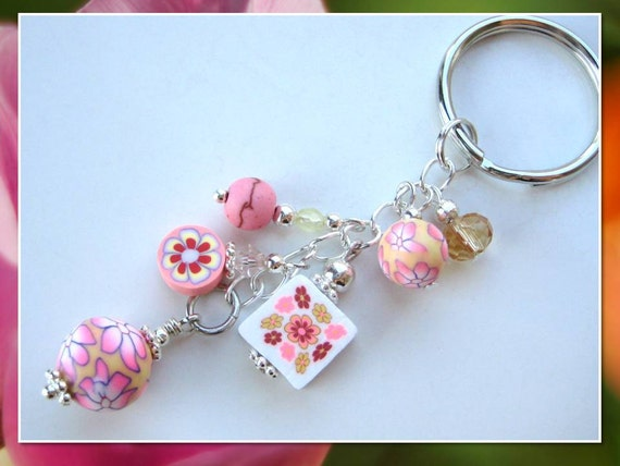 FLORAL FIESTA- Glass Beaded Keychain- One of a Kind-  Crystals, Dyed Turquoise, and Polymer Fimo Clay Beads