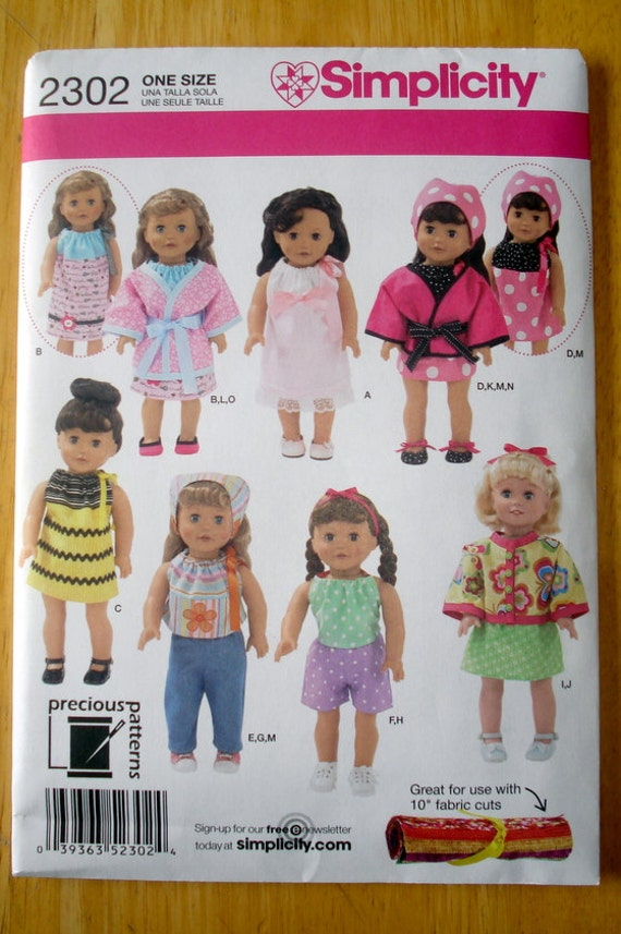 Items similar to 18 Inch Doll Clothes Pattern Simplicity 2302 on Etsy