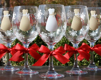 8 Bride and Bridesmaids Wine Glasses for a Winter Wedding, Featuring Snowflakes