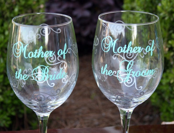 Mother of the Bride and Mother of the Groom Set of 2 Monogrammed Wine Glasses
