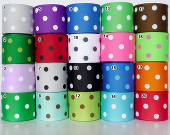 "1.5""38mm 5 yard mixed colors polka dots Grosgrain RIBBON 20 colors U pick hairbow scarpbook"