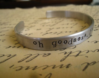 "Dr. Horrible ""Oh Goodness, Look at my Wrist"" Bangle, Dr. Horrible's Sing-a-Long Blog Inspired, NPH, Hand Stamped Aluminum, FREE SHIPPING"