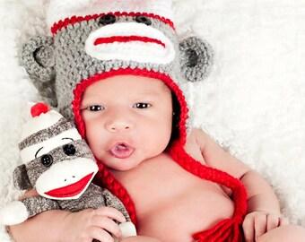 Sock Monkey Baby Hat, Toddler Sock Monkey Hat, Baby Boy Hat, Baby Girl hat, Crochet Sock Monkey Hat, Unisex Baby Hat