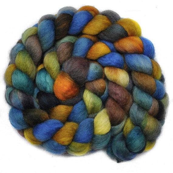 RESERVED for Angel - Hand painted roving - David Copperfield Too- Blue Faced Leicester  (BFL) wool spinning fiber, 4.0 ounces