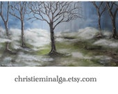 Hidden Forest a foggy walk through a dark woodland trail a night. 18x36 original oil gallery wrapped painting