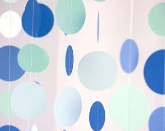 circle paper garland shades of blue and green party decoration birthday party baby shower wedding bridal shower christmas