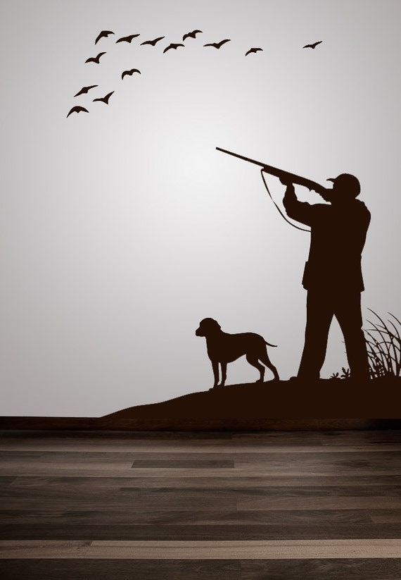 Duck geese pheasant hunting scene decal by vinylwalladornments for Hunting wall decals