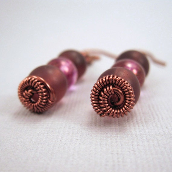 Wire Wrapped Earrings, Dusky Trio Earrings