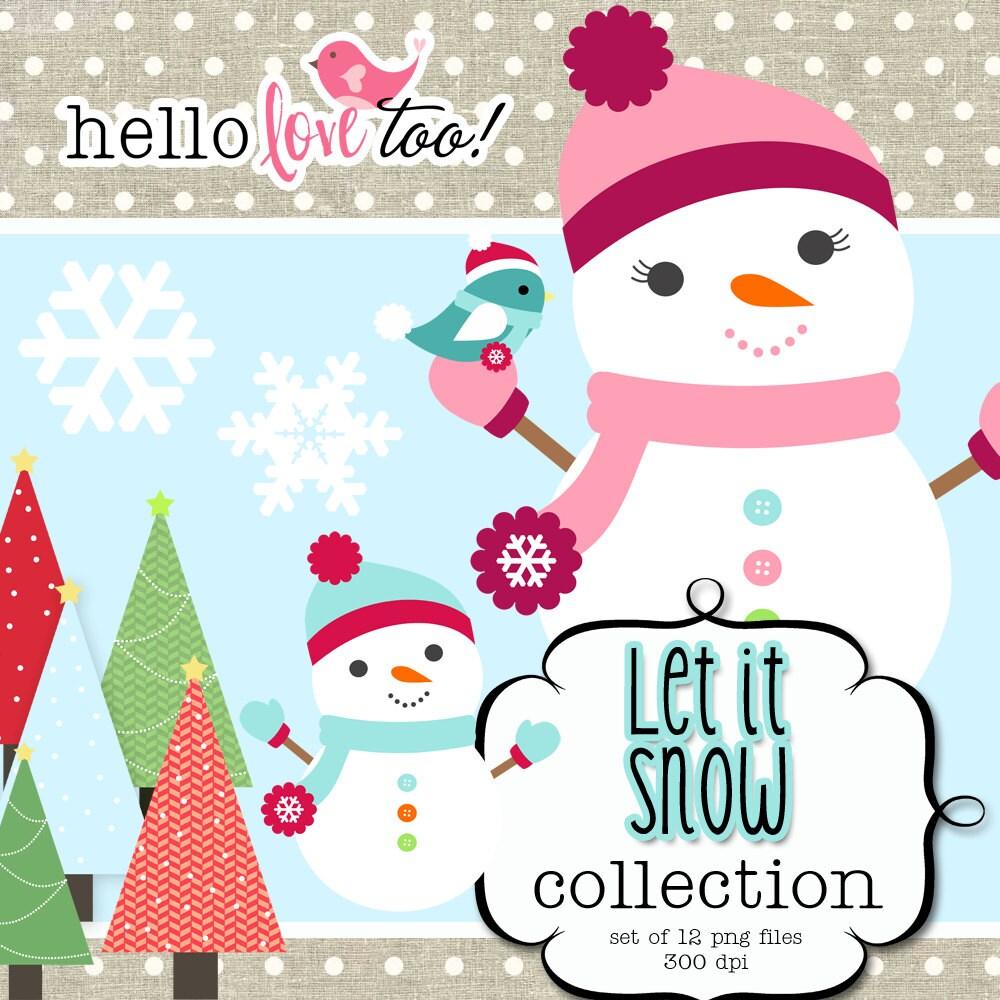 Clip Art Snowgirl Snowman digital clipart