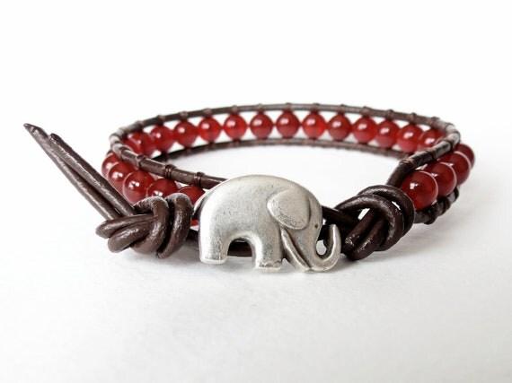 Elephant leather bracelet with cherry red Carnelian, lucky bracelet, beaded wrap bracelet, bohemian chic