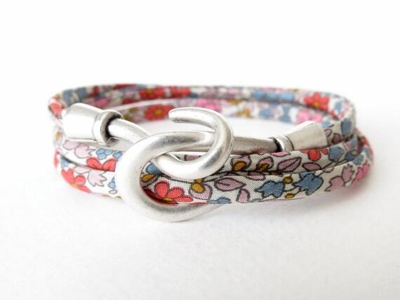 Floral liberty of London cord triple wrap bracelet with hook and eye clasp, feminine autumn bangle, boho bracelet