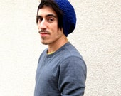 Mens Royal Blue Slouchy Hipster Crochet Hat Slouch Beenie Beanie Handmade Winter Gifts For Guys Under 50 Dollars Fathers Day