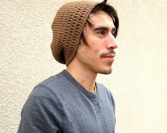 Mens Light Brown Slouchy Hipster Crochet Hat Slouch Beenie Beanie Gifts For Guys Under 50 Dollars