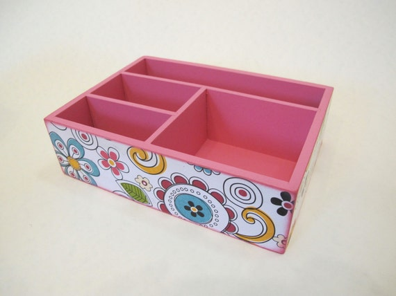 Funky flower office tray desk organizer decoupage box for Creative desk solutions