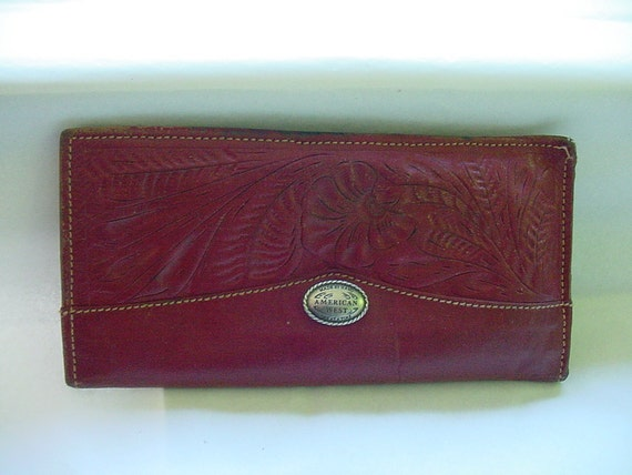 Vintage Handmade Billfold by American West Made One at a Time Hand Tooled Leather Now Distressed