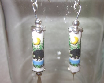 Paper Bead Earrings - Black Bear - paper jewelry