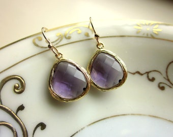 Amethyst Earrings Gold Purple Earrings - Bridesmaid Earrings - Bridal Earrings - Wedding Earrings - Valentines Day Gift - Gift under 30