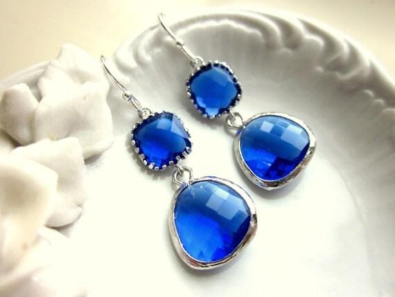 Cobalt Blue Earrings Silver Two Tier - Sterling Silver Earwires - Bridesmaid Earrings Wedding Earrings Valentines Day Gift