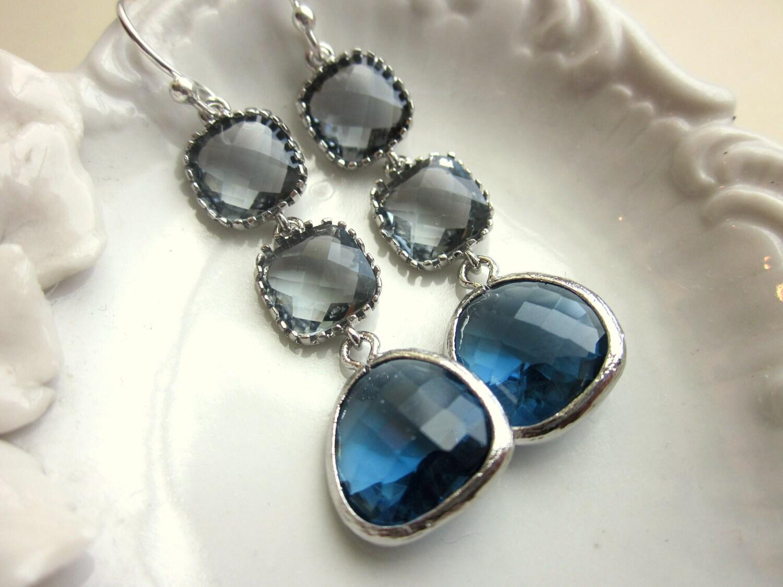 Sapphire Navy Earrings Charcoal Gray Earrings Silver
