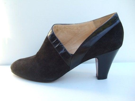 Vintage 1980s boots / black suede cut away ankle boots shoes pumps UK 6 EU 39 US 8