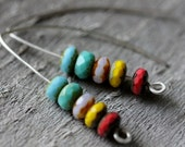 Faceted Czech Glass Picasso Mix & Sterling Earrings, Statement Earrings, Rich Colors, Unique Gift