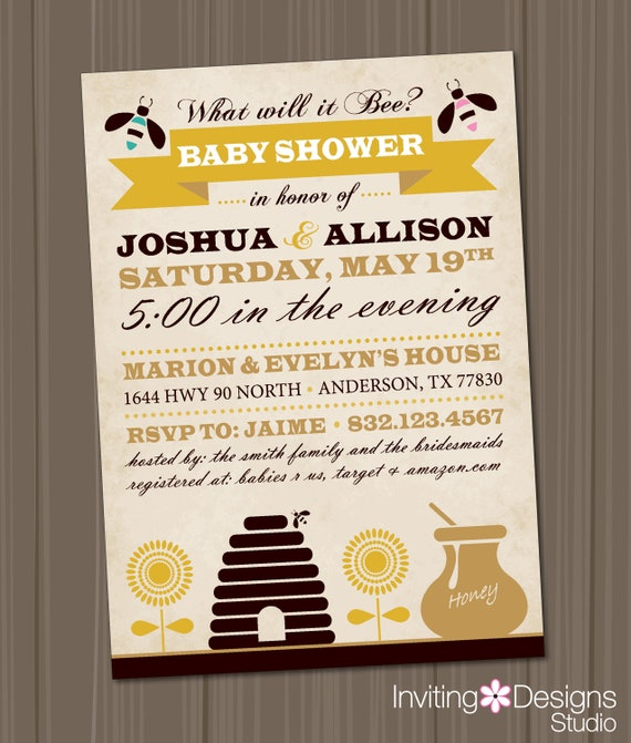 Bumble Bee Baby Shower, Baby Shower Invitation (PRINTABLE FILE), Gender Reveal Party