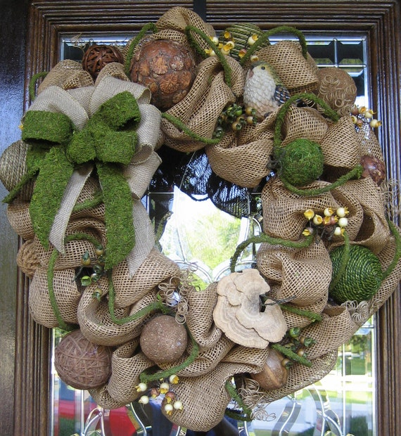 Deco Mesh BURLAP and MOSS WREATH