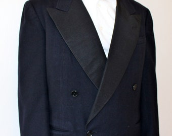 40s 50s Mens Tuxedo Jacket Tux Blazer Wool Satin Dinner Evening M 40R 40S Dark Navy Blue Black Wedding Mad Men Frank Sinatra Cary Grant