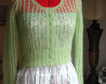 Hand knitted Mohair Jacket. Thin, warm, light weight. Made to order. Custom made