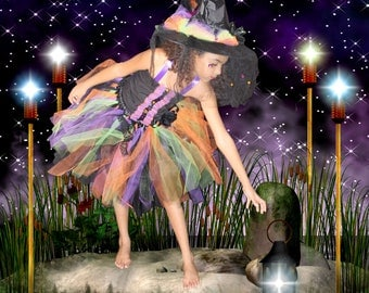 """Halloween """"Fancy  Witch"""" costume set includes hat, top and skirt  with lace and rhinestones"""