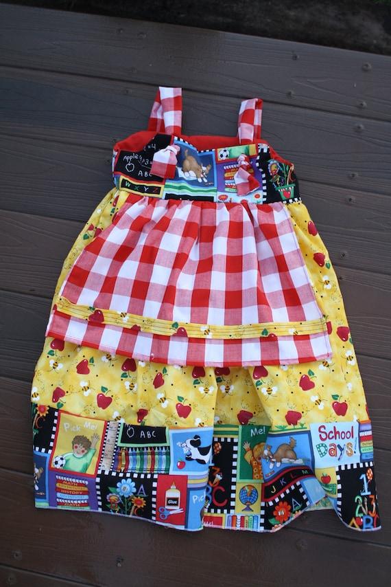 Back to school girls cotton apron dress for school, kindergarten,preschool,pictures