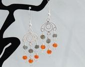 Carnelian, Labradorite & Sterling Chandelier Earrings - Drop Earrings - Gemstone Earrings - Dangle Earrings - July Birthstone