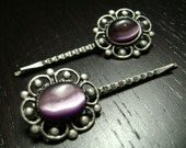 Victorian Antiqued Pewter Bobby Pin Set with Purple Cats Eye Cabochons