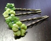 Green Goddess Flowers Mother of Pearl Bobby Pins -- set of 4 for Bridesmaids