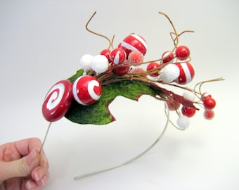 Peppermint Mistletoe Candy Headband  - Elf - Christmas holiday party - Whimsical