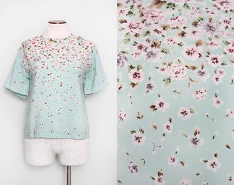 Robins Egg Blue Top / Floral Top / Medium Large