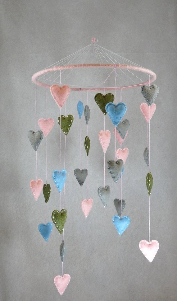 Sweet Hearts baby-girl mobile/delicate/light blue/pink/olive green/light gray/hand sewn/ready to be ship