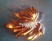 Vintage Coppery Gold Tone and sparkly Rhinestone Leaf Brooch Pin