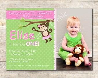 Girl Monkey Birthday Party Invitation - sarah O chic - Printable Invitation, girl monkey, pink and green, monkey birthday party